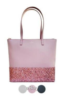 Kate Spade Greta Court Penny Glitter Large Top Zip Tote Glitter Black Grey Pink