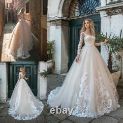 Long Sleeves V Neck Wedding Dresses Lace A Line Appliques Bridal Gowns Custom