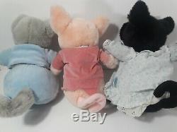 Lot of 4 Plush Stuffed Beatrix Potter by Eden Black Pig Pink Pig Badger Grey Cat
