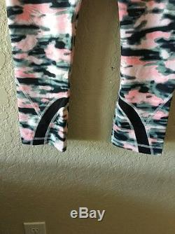Lululemon Run Inspire Crop Pant Capri Wamo Camo Pink Black Gray Size 8