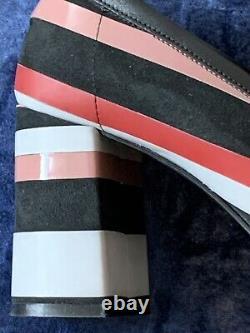 MSGM Catwalks loafers Midi Heels Striped Patchwork Red Pink Grey Black 39, 8