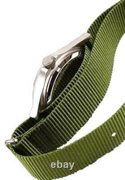 MWC G10LM Military Watch 50m No Date Screw Case Back Olive Strap