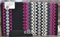 Mayatex Wool Show Saddle Blanket Pad 34x40 CUSTOM Black Pink Silver Grey White