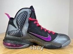 Men's Nike LeBron 9 IX Miami Night Black Grey Gray Pink Graphite 9.5 469764 002