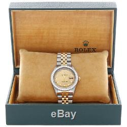 Mens 36mm Rolex DateJust Diamond Watch 18K Two Tone Jubilee Champagne Dial 2 CT
