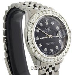Mens Rolex 36mm DateJust Diamond Watch Jubilee Steel Band Black Dial 3.70 CT