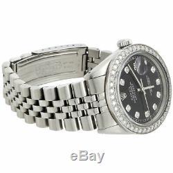 Mens Rolex 36mm DateJust Diamond Watch Jubilee Steel Band Custom Black Dial 2 CT
