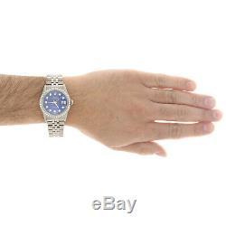 Mens Rolex 36mm DateJust Diamond Watch Jubilee Steel Band Custom Blue Dial 2 CT