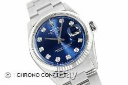 Mens Rolex Datejust 18K White Gold & Stainless Steel Blue Diamond Dial Watch