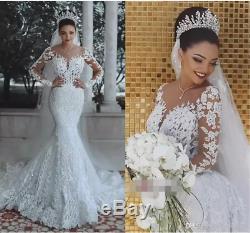 Mermaid Scoop Wedding Dresses Long Sleeves Applique Lace up Bridal Gowns Bride