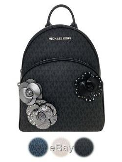 Michael Kors Abbey Medium Large Backpack MK Signature Floral Pink Blue Black
