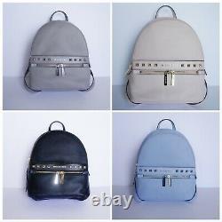 Michael Kors Kenly Medium Backpack Pebbled Leather Black/blue/pink/grey Studs