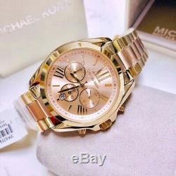 Michael Kors MK6359 Pink and Gold Tone Bradshaw Chronograph Ladies Wrist Watch