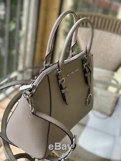 Michael Kors Womens Large Crossbody Bag Handbag Black Grey Leather Purse Satchel