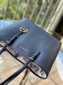 Michael Kors Womens Medium Carryall Tote Leather Shoulder Bag Handbag black Pink