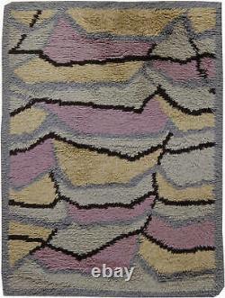 Mid-Century Swedish Rya Rug in Pink, Caramel, Grey, and Black. BB6229
