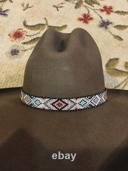 NATIVE Handmade Beaded Hatband HAT BAND TURQUOISE PINK GRAY BLACK SOFT DEERSKIN