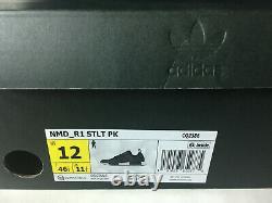 NEW Adidas NMD R1 STLT PK Mens Shoes Black/Grey/Solar Pink CQ2386 BOOST Size 12