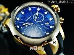 NEW Invicta Men's 52mm MALICE Venom Swiss Chronograph Blue Dial 18K GP SS Watch