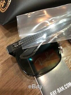 NEW Ray-Ban RB8319CH Matte BLK Carbon Grey Mirror Polarized Chromance Sunglasses