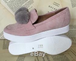 NIB Anthropologie All Black pink Suede Gray Fur Pom Pom Slip On Sneaker 40/9-9.5