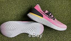 NIKE EPIC REACT FLYKNIT MEN'S Pink Black & Grey RUNNING SHOES SIZE 12 AQ0067-500