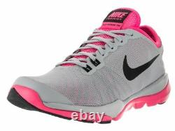 NIKE Women's Flex Supreme TR 4 Cross Trainer Grey/Black-pink Blast/White sz 9.5