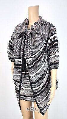 NWOT MISSONI Open Cardigan Black Gray White Pink Knit Shawl Sweater Top 44 Sz 8