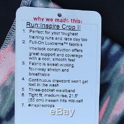 NWT Lululemon RUN INSPIRE CROP II WAMO CAMO Black PINK Gray (Size 06) # 2