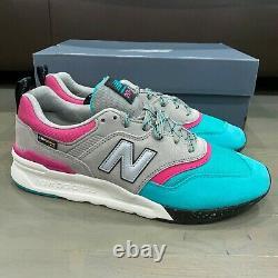 New Balance 997 Grey Pink Teal White Black South Beach Size 10.5 CM997HYS NIB
