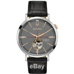 New Bulova Classic Grey Dial Black Leather Strap Men's Watch 98A187
