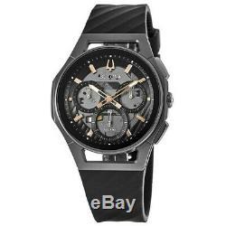 New Bulova Curv Chronograph Dark Grey Dial Black Rubber Strap Men's Watch 98A162