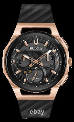 New Bulova Curv Chronograph Dark Grey Dial Rubber Band Men's Watch 98A185