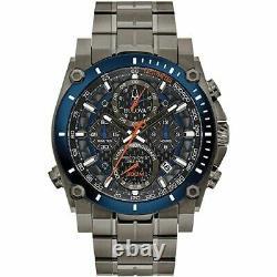 New Bulova Precisionist Black-Blue Chronograph Dial Grey Men's Watch 98B343