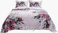 New! Chic Modern Purple Grey Black Rose Abstract Watercolor Flower Quilt Set