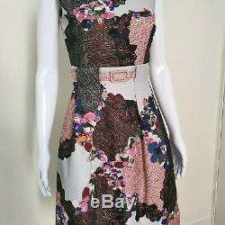 New Erdem UK 8 US 4 Floral Embroidered Print Dress Grey Pink Black Belted 50's