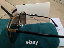 New Gucci Sunglasses GG0291S Gold Frames Gray lens Unisex Sunglasses