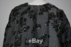 New LELA ROSE Metallic Gold Floral Jacquard Black Gray Tunic Dress GATHERED 4