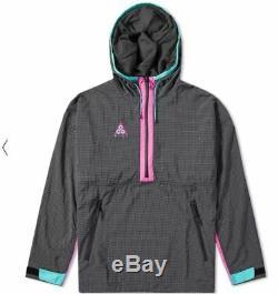 New Mens M Medium Nike Acg Woven Hoodie Pullover Jacket Grey Pink Black 931907