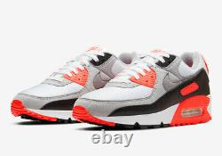 New Nike Air Max 90 III 3 Infrared 2020 White Black Grey Red Ct1685-100 Size 9