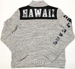 New Victoria's Secret PINK Grey Black Bling Hawaii Half Zip Pullover Jacket L
