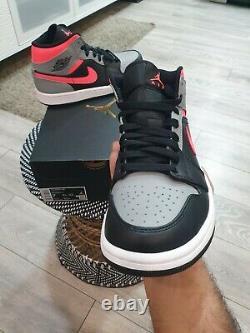 Nike Air Jordan 1 Mid Pink Shadow Black Grey Hot Punch UK6 Brand New