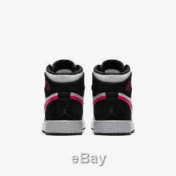 Nike Air Jordan 1 Retro High Hi Black/deadly Pink/grey Women Girls Youth Sz Bnib