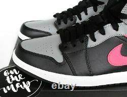 Nike Air Jordan 1 Retro Mid Shadow Grey Hot Punch Pink Black UK 5 6 7 8 US New