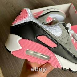 Nike Air Max 90 White Grey Pink Black Trainers Size Uk7 Us8 Eur41
