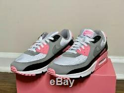 Nike Air Max 90 White Grey Rose Pink Black Leather CD0881-101 Size 9.5 11