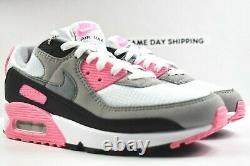 Nike Air Max 90 (Womens Size 8.5) Shoes CD0490 102 White Grey Black Rose Pink