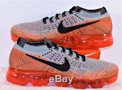 Nike Air VaporMax Flyknit Wolf Grey & Black Running Shoes Sz 9 NEW 849557 026