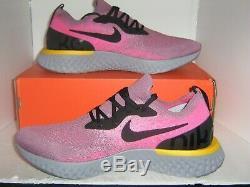 Nike Epic React Flyknit SZ 12 Plum Dust Black Pink Grey Running AQ0067-500