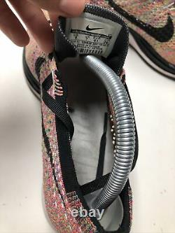 Nike Flyknit Racer Used Size 8 Multicolor Grey Blue Pink Black 526628 004